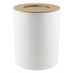 Šiukšliadėžė su bambukiniu dangčiu, balta, 6l, 19x19x24 cm