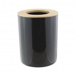 Šiukšliadėžė su bambukiniu dangčiu, juoda, 6l, 19x19x24 cm