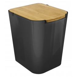 Šiukšliadėžė su bambukiniu dangčiu, juoda, 7l, 22 x 18 x 24 cm