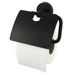 Kosmos Black WC popieriaus laikiklis su dangteliu, juodas