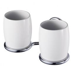 Allure dvigubi porcelianiniai puodeliai su laikikliu